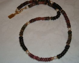 18 INCH MULTI-COLORED TOURMALINE NECKLACE