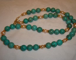 NEW - 23 INCH TURQUOISE AND FRESHWATER PEARL NECKLACE