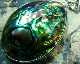 PAUA SHELL PENDANT NATURAL COLORS RHODIUM PLATED COLORFULL