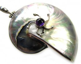 NAUTILIS SHELL PENDANT  WITH AMETHYST 130.00 CTS4 [SJ1122]