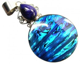 NEON BRIGHT PAUA SHELL AND LAPIS  29.45 CTS [SJ1135]