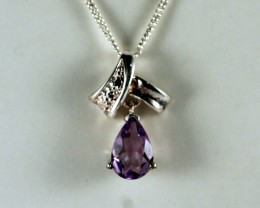 Sterling Silver Necklace & Amethyst Pendant  ( TC-N76