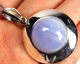 LARGE BLUE LACE  GEMSTONE  SILVER PENDANT  GRR 247