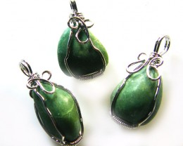 3 AFGHANISTAN ADVENTURINE WIRE WRAP   PENDANTS   AG 1139