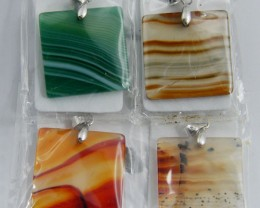 PARCEL FOUR MIXED SQUARE BANDED   AGATE PENDANTS   AAT38