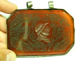 LARGE ENGRAVED ANTIQUE AGATE PENDANT 245 CTS SGS 705