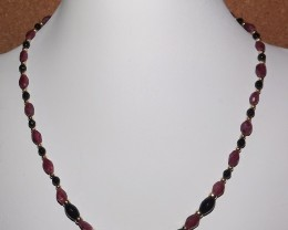 89.70 ctw RUBY AND BLACK ONYX NECKLACE