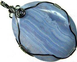 LARGE  BLUE LACE AGATE SILVER  94CTS [GT1049 ]