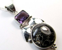 AMETHYST SILVER PENDANT 31.80 CTS MGMG 56