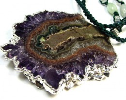 211 CTS LARGE SLICED STALACTITE AMETHYST PENDANT  GG 236