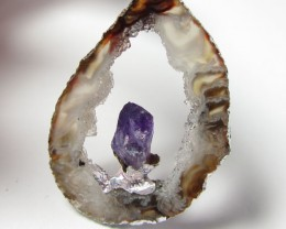 38 CTS  SLICED CRYSTAL AGATE WITH  AMETHYST PENDANT  GG 380