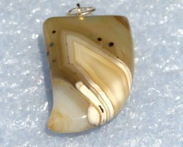 Fabulous Banded Agate Tooth Pendant 30 x 18 mm BAP-06