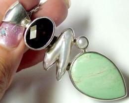 SILVER PENDANT torquoise-pearl-smokyquartz 106 CTS ADK-51