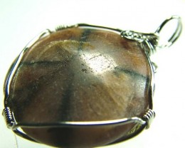 CHAISTOLITE 'CROSS STONE ' WIRE WRAPPED 55.55 CTS [GT380 ]