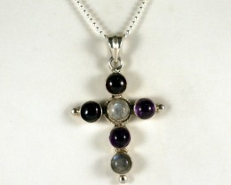 Sterling Silver Necklace & Multi Color Gem Cross  ( TC-N81