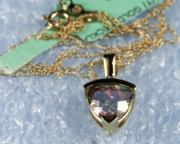 10k Y/Gold Necklace & Pendant  With Diamond & Topaz GN04