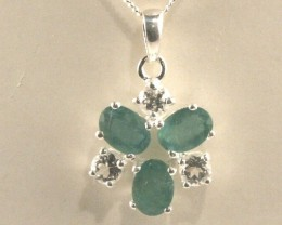 Sterling Silver Necklace & Emerald & Topaz Pendant (SSN-10