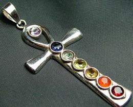 Elegant Cross 7 Stone 925 Silver Pendant JW127