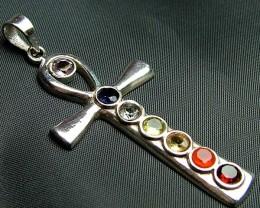 Elegant Cross 7 Stone 925 Silver Pendant JW126