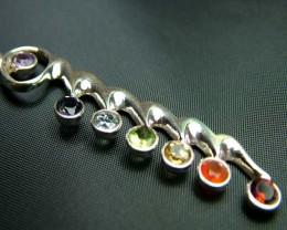 Elegant Faceted 7 Stone 925 Silver Pendant JW86