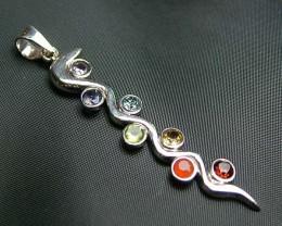 Elegant Snake 7 Stone 925 Silver Pendant JW91