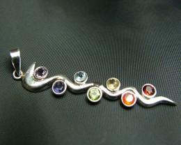 Elegant Snake 7 Stone 925 Silver Pendant JW92
