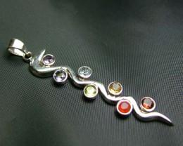 Elegant Snake 7 Stone 925 Silver Pendant JW94