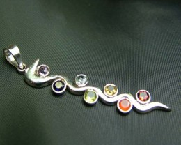 Elegant Snake 7 Stone 925 Silver Pendant JW83