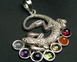 Elegant Lizard 7 Stone 925 Silver Pendant JW97