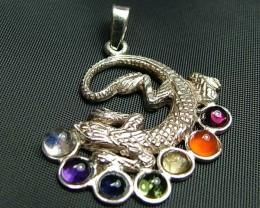 Elegant Lizard 7 Stone 925 Silver Pendant JW96