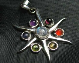 Exotic 925 Silver Handcrafted 7 Gemstone Pendant 121