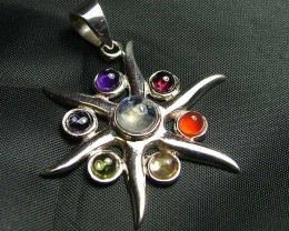 Exotic 925 Silver Handcrafted 7 Gemstone Pendant JW125
