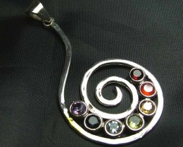 Exotic 925 Silver Handcrafted 7 Gemstone Pendant JW77