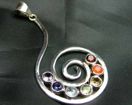 Exotic 925 Silver Handcrafted 7 Gemstone Pendant JW76