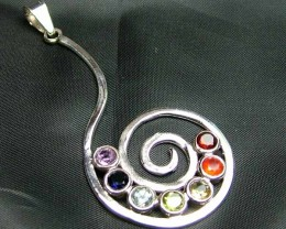 Exotic 925 Silver Handcrafted 7 Gemstone Pendant  JW75