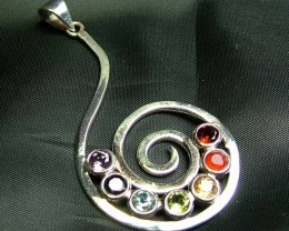 Exotic 925 Silver Handcrafted 7 Gemstone Pendant JW74