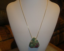 18 INCH LONG 24 KT. NECKLACE OF RUBY IN FUCHSITE