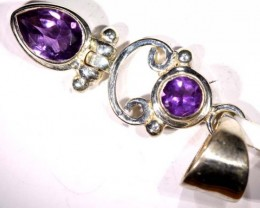 AMETHYST FACETED SILVER PENDANT - 36CTS  TBJ-616