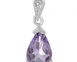 NEW PENDANT WITH GENUINE AMETHYST AND ACCENT DIAMONDS