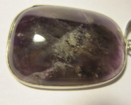 Amethyst Pendant with sterling silver plated bail and enclosure