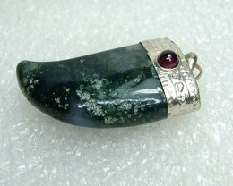 Lovely Natural Moss Agate Stone Pendant JW56