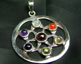 Exotic 925 Silver Handcrafted 7 Gemstone Pendant JW103