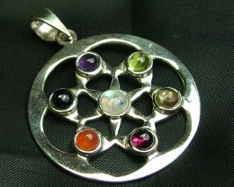 Exotic 925 Silver Handcrafted 7 Gemstone Pendant JW102