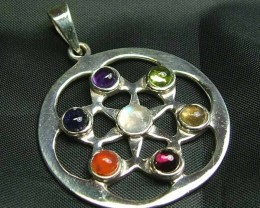 Exotic 925 Silver Handcrafted 7 Gemstone Pendant JW116