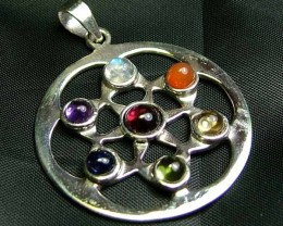 Exotic 925 Silver Handcrafted 7 Gemstone Pendant JW117