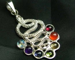 Exotic 925 Silver Handcrafted 7 Gemstone Pendant JW80