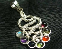 Exotic 925 Silver Handcrafted 7 Gemstone Pendant JW81