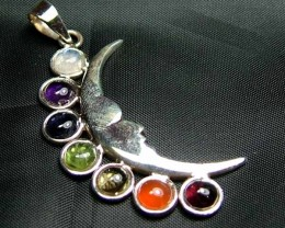 Exotic 925 Silver Handcrafted 7 Gemstone Pendant JW115