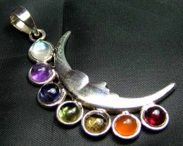 Exotic 925 Silver Handcrafted 7 Gemstone Pendant JW114