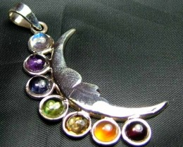 Exotic 925 Silver Handcrafted 7 Gemstone Pendant JW104